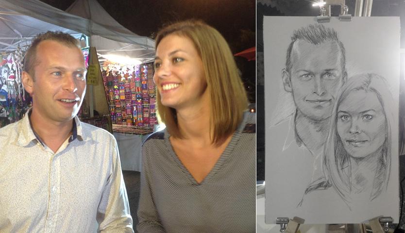 Laure et Fabien  - Portrait sur le vif au fusain