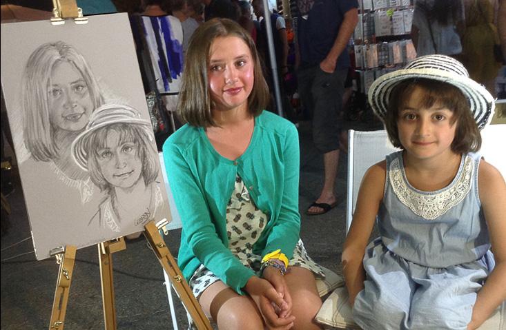 Haneen et Sham  - Portrait sur le vif au fusain