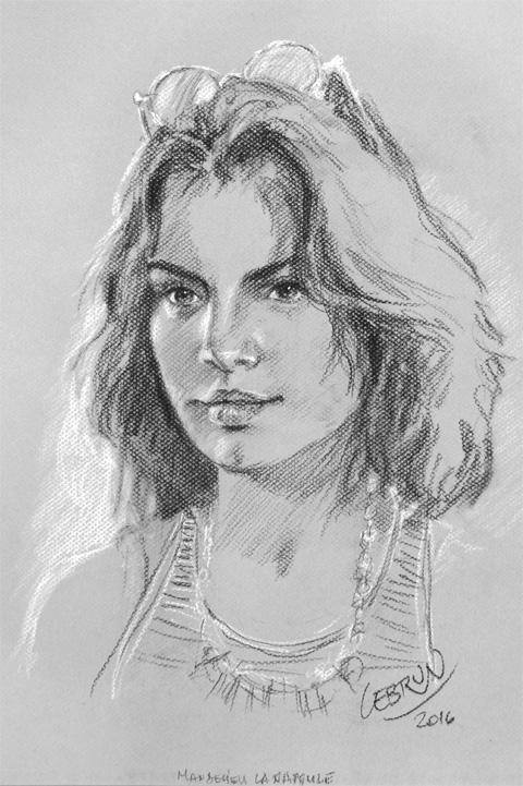 Amélia  - Portrait sur le vif au fusain