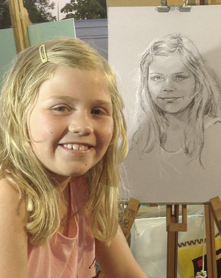 Käthe - Portrait sur le vif au fusain