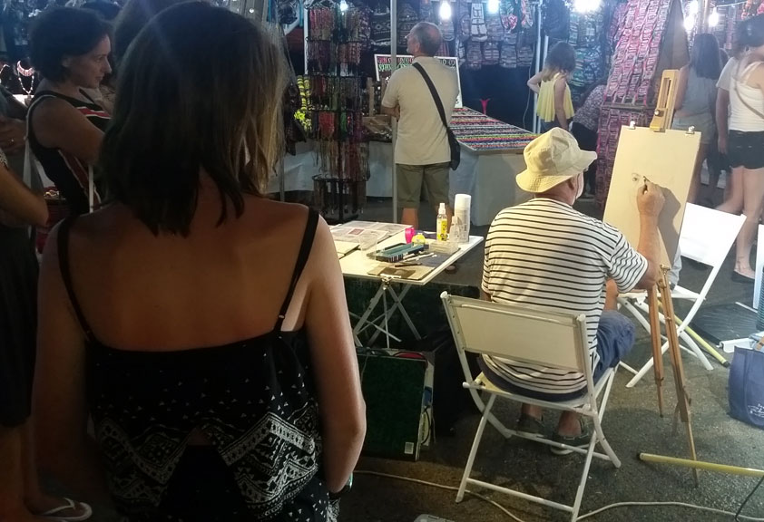 Paul Lebrun au travail - Portrait sur le vif au fusain à Mandelieu La Napoule