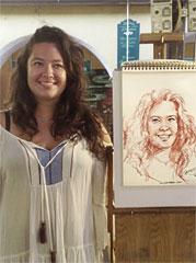 Portrait sur le vif au fusain