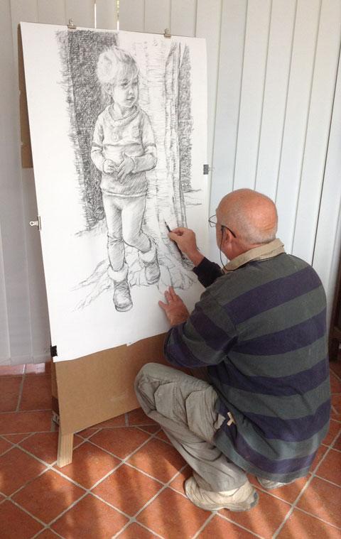 Paul Lebrun dans son atelier