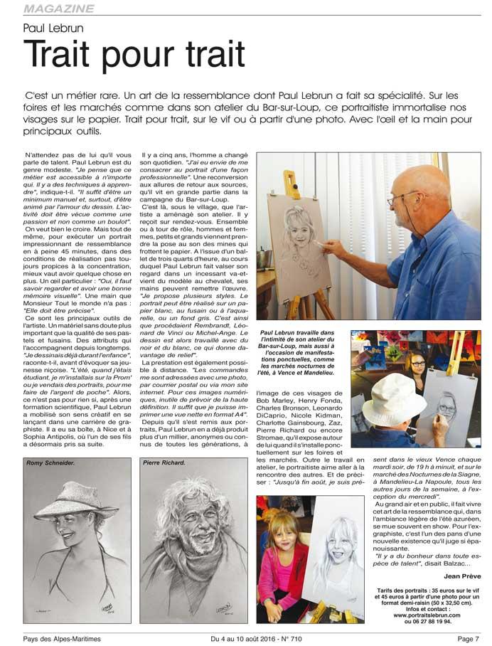 """article du numéro d'août 2016 du journal """"Pays des Alpes-Maritmes"""""""