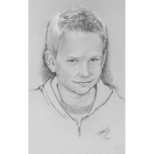 Portrait au fusain - Fond gris